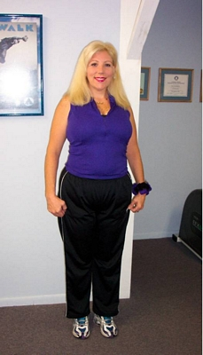 Here she is after her weight loss program and the weight training program. She used the nutritional information program and the personal training program do lose the body fat she needed to lose and the personal training program and now she has the lean muscle mass to keep the fat deposits from coming back. She is not done yet but as of so far she has lost over 100lbs of fat and will continue until she is completely lean and finished.
